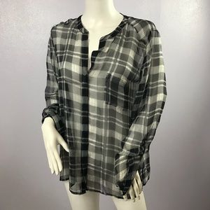 JOIE Plaid Grey Top Pleated Large M 100% Silk